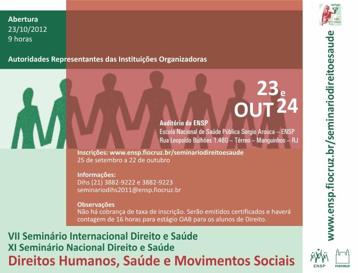Seminário sobre movimentos sociais e saúde começa em 23/10